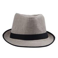 соломенные федоры для мужчин оптовых-Модные женщины мужчины соломы Панама Fedora шапки твердые платье шляпы стильный весна лето пляж шляпа солнца DHV4*10