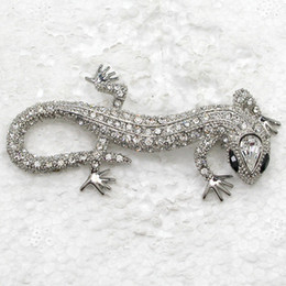 Wholesale Fashion Crystal Rhinestone Brooch Pin Gecko Brooches Jewelry Accessories C2003