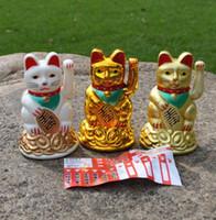 Wholesale Cat Stores - Maneki Neko Lucky cat Chinese Feng Shui Waving Wealth Fortune Cat Waving hand Cat animal cats cartoon store home decoration Christmas gift