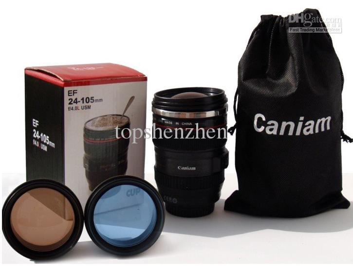 6th Generation stainless steel liner travel thermal Coffee camera lens mug cup with hood lid 480ml 340g caniam