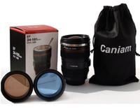 paslanmaz çelik kahve mum astar toptan satış-Fabrika fiyat 6th Nesil paslanmaz çelik astar seyahat termal Kahve kamera lens kupa bardak kaput kapaklı 480 ml 340g caniam