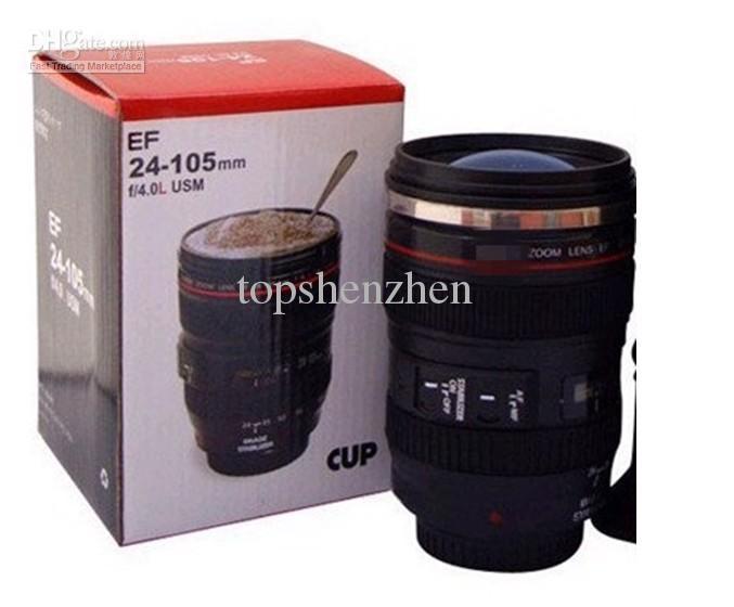 Factory price 6th Generation stainless steel liner travel thermal Coffee camera lens mug cup with hood lid 480ml 340g caniam by Fedex