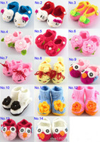 Wholesale Sleep Shoes - Children's crochet baby booties Knitted Shoes Baby toddler shoes Pure handmade Wool flowers baby shoes Infants sleep overshoes