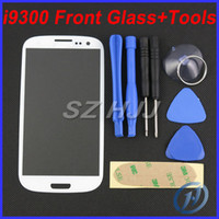 Wholesale Screen Glass S3 Black - Black and White Front Outer Screen Glass Lens with Opening Tools and 3M Sticker Stripe For Samsung Galaxy S3 i9300 i747 Touch Screen Cover