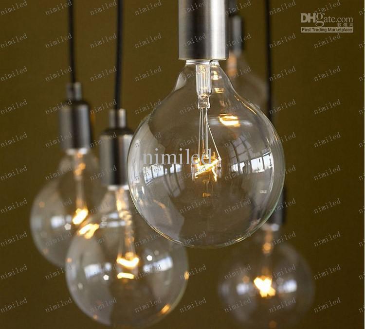 LlFA04 Gratis frakt Enkelt stilglas + Järn Edison ljuskrona Lighting Pendant Droplight Lamp 6/8/10/12/14 Ljus med fjärrkontroll