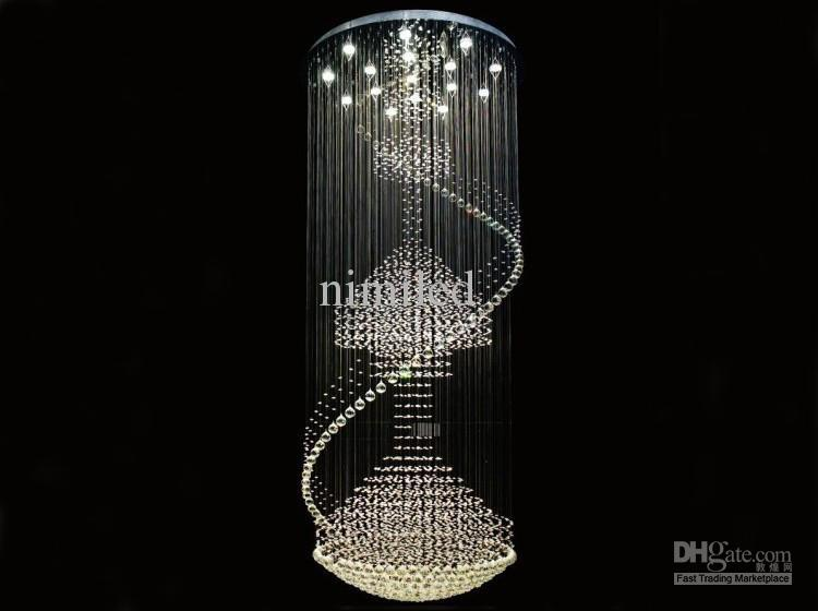 DIA 80/90/100センチブルダブルヘリックスデザインクリスタルラウンドペンダントペントハウス階段ランプドロップライトホテルヴィラランプLLY04