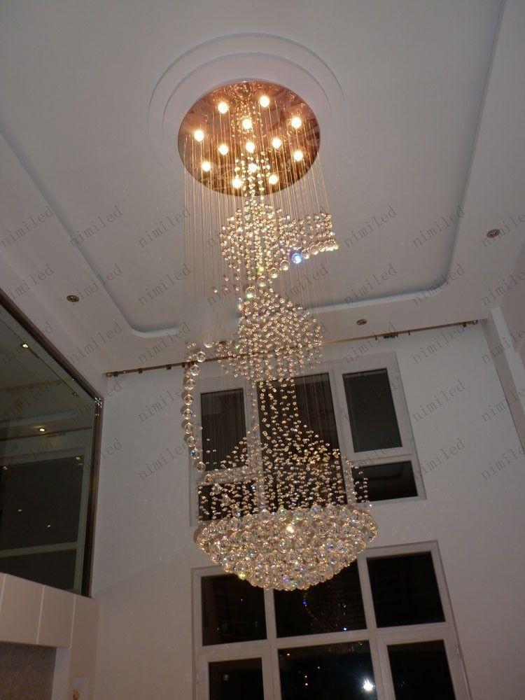 Dia 80/90/100 cm Duplex Dupla Hélice Design de Cristal Pingentes Redondos Penthouse Escada Lâmpada Droplight Luzes Hotel Villa Lâmpada LLY04