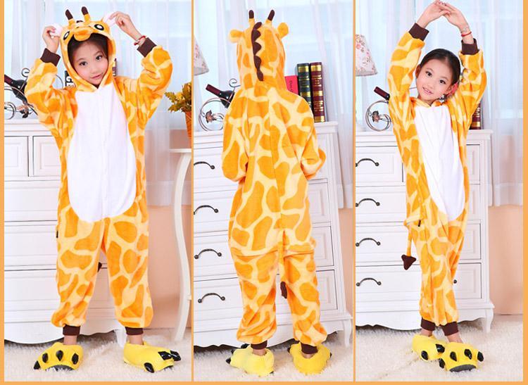 Tecknade djur giraffe Onesiesie pyjamas Kigurumi Jumpsuit Hoodies Sleepwear för barn ingen klo Välkommen grossistbeställning
