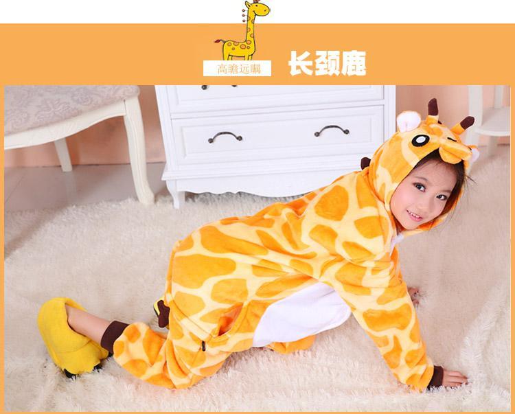 Animal de la historieta Jirafa Onesies Onesie Pijamas Kigurumi Mono Sudaderas Ropa de dormir para niños sin garras Bienvenido Pedido al por mayor