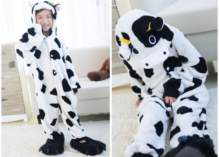 Tierkuh Onesies für Kinder Onesie Pyjamas Kigurumi Jumpsuit Hoodies Nachtwäsche für Kinder keine Klaue Willkommen Großhandel Bestellung