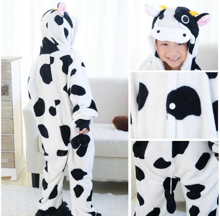 子供たちのための動物牛の片方Pajamas Kigurumi Jumpsuitパーカー子供のための寝室(爪なし)卸売順序