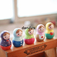 Wholesale Desk Resin Craft - Children's stationery,R51-037 Fancy mini Resin craft gift Russian dolls sets  desk decoration   birthday giftdandys