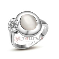 "Wholesale Sumptuous Crystal - Yoursfs Rings Fashion Gift Austrian Crystal 18 K White Gold Plated Use Austria Crystal Sumptuous CAT""S EYE Moonstone Popular Rings R119W1"