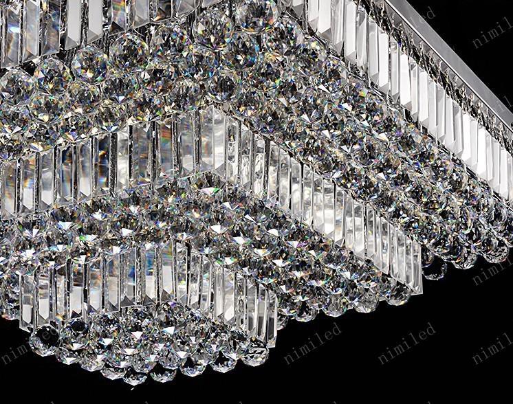nimi143 L50/60/70/80/90/100/120cm LED Crystal Rectangular / Square Ceiling Light Lamp Lighting For Living Room Dining Bedroom