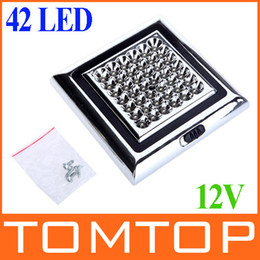 Wholesale Car Roof Led Lights - 12V 42 LED Car Vehicle Indoor Roof Ceiling Lamp Interior Decorative Dome Light Square White Drop shipping Wholesale K994