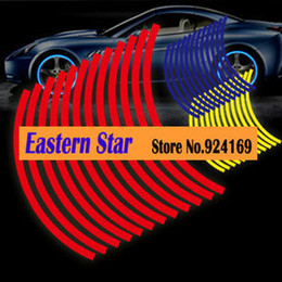 Wholesale Car Body Stripes - 18 Strips Reflective Rim Stripe Wheel Sticker Decal Tape For Car Motorcycle Free Shipping suitable for 13 to 17 inch red yellow blue
