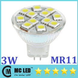 Wholesale Gu4 3w - 3W GU4 MR11 Led Spotlights 200 Lumens Energy Saving 12pcs Led 5050 Warm Pure White Led Lights Bulb 12V CE ROHS UL