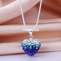 Wholesale Shamballa Heart Gradient 925 Silver - New Arrivel Fashion Blue Gradient Heart Pedant Necklace Shamballa 925 sterling silver GP High Quality JEWELLRY YZ18