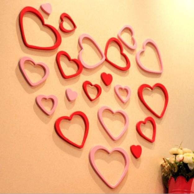 Hot Sale Art DIY Heart Style Wall Sticker Decals Home Decor For Living Room 6 Sets L382