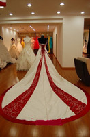 Wholesale Lace Wedding Dress Monarch Train - Perfact! Monarch Train Sweetheart Ivory And Dark Red Satin With Embroidery And Beads A-line Bride Wedding Dresses Lace up Back