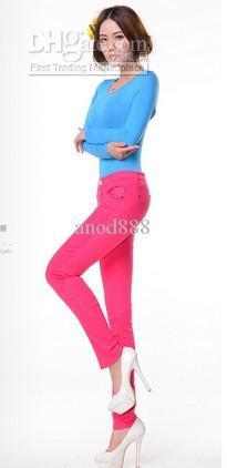 Venta al por mayor envío libre tamaño S, M, L, XL jeans de colores para mujer / sexy elastane jeans / slim fit jeans es pueden ser elegidos