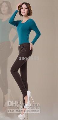 卸売送料無料 - サイズS、M、L、XLカラフルな女性ジーンズ/セクシーなエラスタンジーンズ/スリムフィットジーンズ20色を選択できます