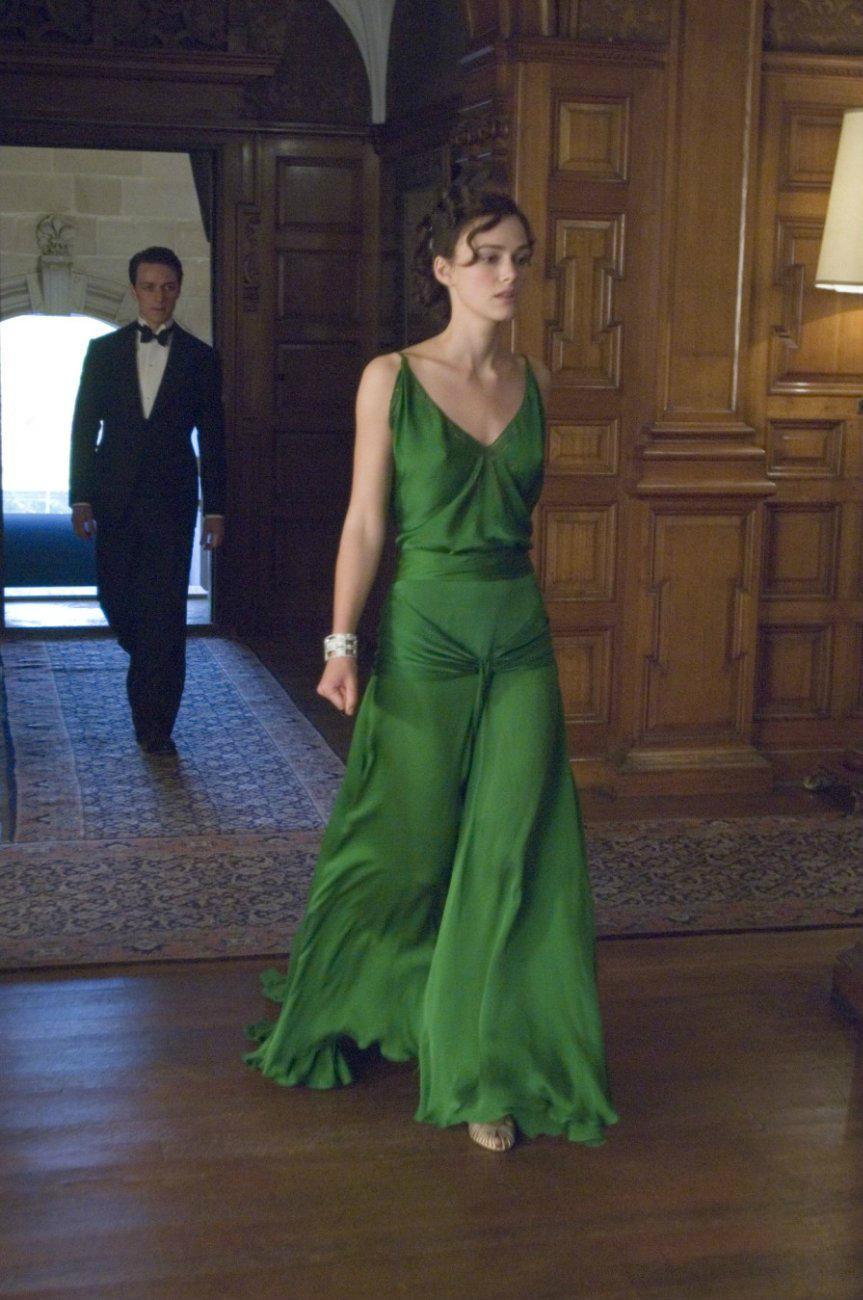 Precioso vestido verde en keira knightley de la película de expiación diseñado por jacqueline durran, vestido largo de celebridad de noche