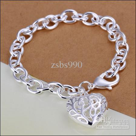 Qualität 925 Silber überzogenes Herzanhänger-Charmekettenarmband-Art und Weiseschmucksache-Valentinsgrußgeschenk freies Verschiffen /