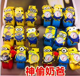 Wholesale Despicable 3d Eyes - Cartoon Children Slap Snap Watch Precious Milk Dad patted watches 3D eye Despicable Me 2 Cartoon Slap watch boys girls