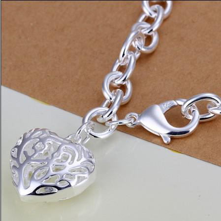 High quality 925 silver plated hollow heart pendant charm chain bracelet fashion jewelry valentine gift