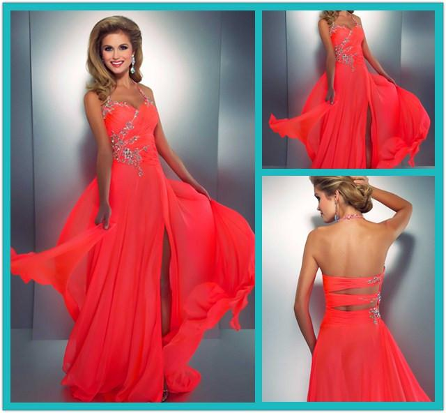 Neon Colored Prom Dresses 2014 Crystal Beads Halter Chiffon Sexy