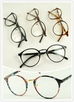 Wholesale Vintage Round metal optical glasses frame Flower Print clear lens eyeglasses spectacles