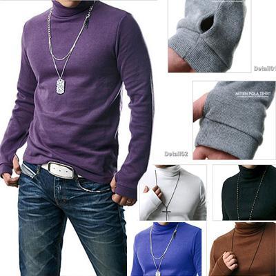 Neue Winter Kint Shirts Mode Schlanke Männer Casual Shirts Langarm Rollkragen Shirts Feste Farben Sweatshirts 8 Farben M28