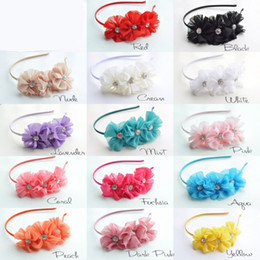 Wholesale Blossom Blends - Ribbon Covered Metal Headbands with Triple Chiffon Flowers Solid Ballerina Blossom Scalloped with Rhinestone Buttons 20PCS LOT