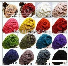 Korean headband Flower headwrap Earband Headwear handmade knit flower women headbands christmas gifts Winter ladies headwrap Earband