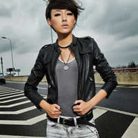 Wholesale Cool Jacket Designs - 2014 cool sexy style plus size street Simple Long Sleeve Zipper slim Design soft PU Leather turndown collar short Jackets For Women 2 color