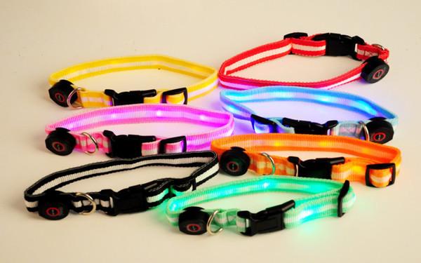 best selling LED flashing dog collar dog leash led Lamp beads pet collar cat collars 6pcs led light