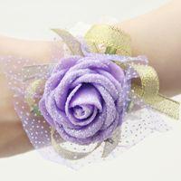 veste en cristal à épaulettes achat en gros de-Simulation fleurs Mariage Banquet Party Fourniture De Mariée Poignet Fleur Demoiselle D'honneur Main Fleur Livraison Gratuite