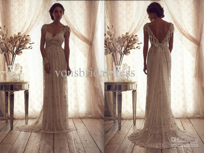 Vintage Wedding Dresses Cheap: 2013 V Neck Empire Sleeves Lace Wedding Dresses Cheap