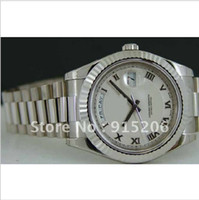 Wholesale men's watches online - Luxury Men s NEW kt White Gold President mm SANT BLANC Sapphire automatic watches wristwatches