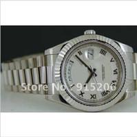 ingrosso guardare oro bianco presidente di lusso-NUOVO orologio da uomo in oro bianco 18kt nuovo di zecca 41mm- 218239 SANT BLANC Sapphire orologi da polso automatici