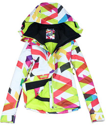 Wholesale Womens Skiwear - 2013 quality guarantee waterproof breathable womens big wavy line snowboarding jacket ladies colorful ski jacket women anorak skiwear coat
