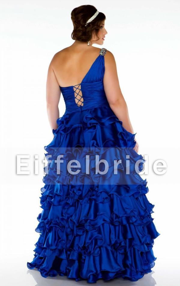 Plus Size Corset Prom Dresses 2014 New Arrival One Shoulder Royal