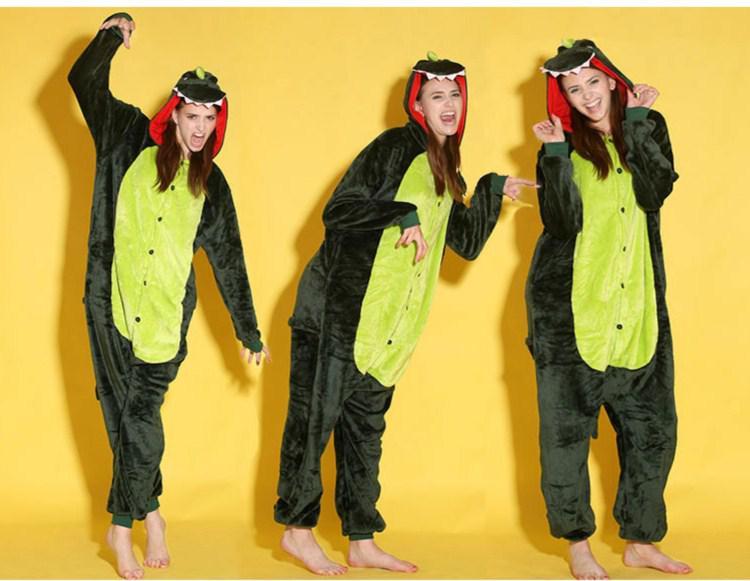 Tierkostüme Gold Grau Rosa Grün Dinosaurier Onesies Onesie Pyjamas Kigurumi Jumpsuit Hoodies Nachtwäsche für Erwachsene Großhandel Bestellung begrüßt