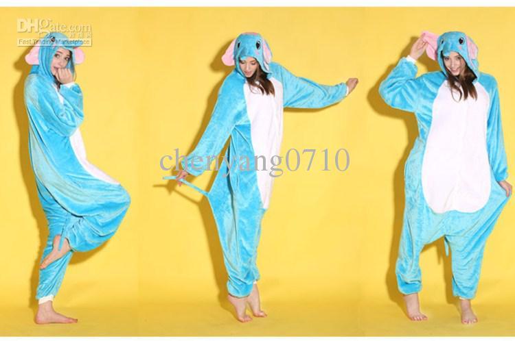 Vuxen tecknad djur elefant onesies onesie pyjamas kigurumi jumpsuit hoodies sleepwear för vuxna grossist order välkomna