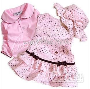 37ebd6388bffa Toddler Baby Girls Corduroy Princess Pink Black Dot Dress Suits Children  Hat T-Shirt Top One-Piece Vest Skirt 3Pcs Set Kids Clothing Outfits