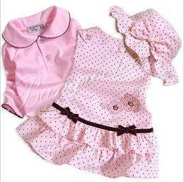 Longue Jupe Noire Enfants Pas Cher-Toddler Bébés filles Corduroy Princesse Rose Robe Noire Dot Suits Hat Enfants + T-shirt + Top One-Piece Vest Jupe 3Pcs Set Vêtements Tenues enfants