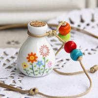 Wholesale Perfume Classic Bottles - MINI Classic Ceramics Essential Oil Bottle Perfume Vials Necklace Pendant Premiums Gift 10pcs lot DC224