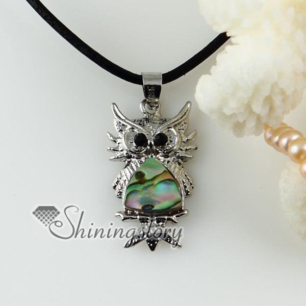 owl peacock rainbow abalone shell rhinestone necklaces pendants hawaiian shell necklaces