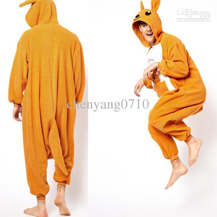 Cartoon Animal Yellow Kangaroo Adult lOnesies Onesie Pajamas Kigurumi Jumpsuit Hoodies Sleepwear For Adults Welcome Wholesale Order